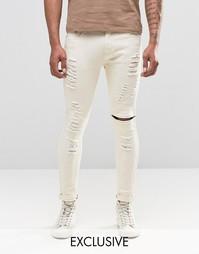Светло-бежевые байкерские джинсы скинни с молнией Liquor & Poker - Stone