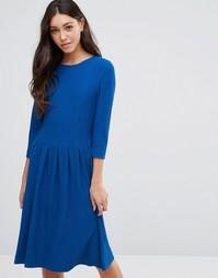 Платье с длинными рукавами и складками на талии Ganni - Синий