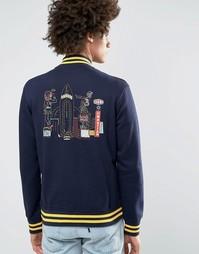 Университетская куртка с принтом сзади Billionaire Boys Club - Темно-синий
