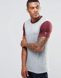 Серая футболка зауженного кроя с контрастными рукавами Abercrombie & Fitch - Серый