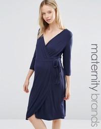 Трикотажное платье с запахом Mamalicious - Темно-синий Mama.Licious