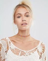 Ожерелье-чокер из бисера с кисточками Love Rocks - Мульти