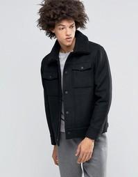 Шерстяная куртка-пилот с воротником борг Weekday Son - Черный