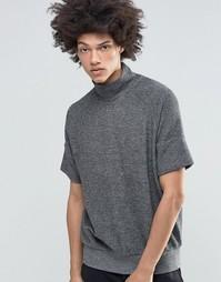 Меланжевый свитшот с короткими рукавами и высоким воротом Weekday Eighty - Серый