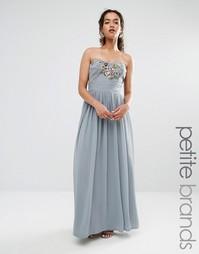 Платье макси в стиле бандо с вышивкой Maya Petite - Серый