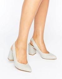 Туфли на среднем каблуке с ремешком через пятку London Rebel - Серый