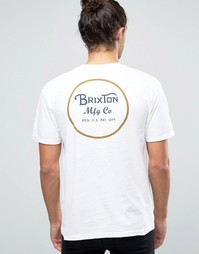 Футболка с принтом логотипа на спине Brixton Wheeler - Белый