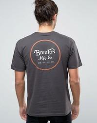 Футболка с принтом логотипа на спине Brixton Wheeler - Черный