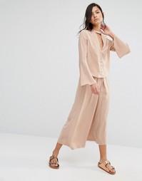 Комбинируемые широкие брюки со складками Neon Rose - Оранжевый