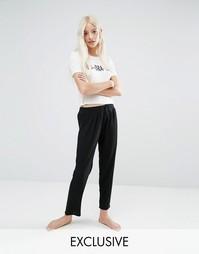 Пижамные кроп-топ и брюки с принтом No Bra Day Adolescent Clothing - Кремовый