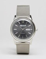Серебристые часы с сетчатым ремешком Ingersoll New Haven Automatic - Серебряный
