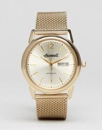 Золотистые часы с сетчатым ремешком Ingersoll New Haven Automatic - Золотой