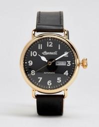 Кварцевые часы с хронографом и черным кожаным ремешком Ingersoll Trenton - Черный