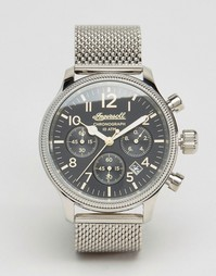 Серебристые часы с хронографом и сетчатым браслетом Ingersoll Apsley - Серебряный