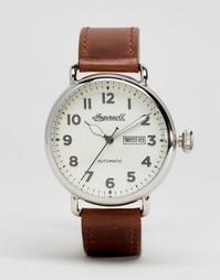 Кварцевые часы с хронографом и коричневым кожаным ремешком Ingersoll Trenton - Коричневый