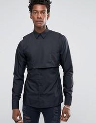 Облегающая рубашка с манишкой Rogues of London - Черный