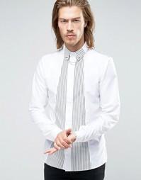 Облегающая рубашка с шарфом в полоску Rogues of London - Белый