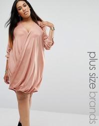 Атласное платье с запахом Missguided Plus - Бежевый