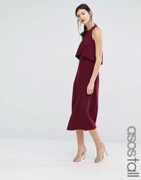 Платье миди с накладкой ASOS TALL WEDDING - Красный