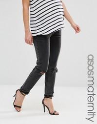 Винтажные рваные джинсы слим для беременных ASOS Maternity Farleigh - Черный