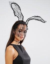 Обруч для волос с кружевными кроличьими ушками и вуалеткой Johnny Loves Rosie Halloween Darcey - Черный
