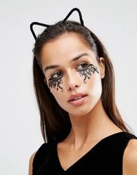Черный обруч для волос с меховыми кошачьими ушками Johnny Loves Rosie Halloween - Черный