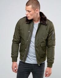 Куртка-пилот с воротником из искусственного меха Schott Air - Зеленый