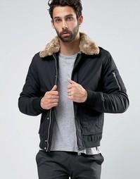 Куртка-пилот с воротником из искусственного меха Schott Air - Черный