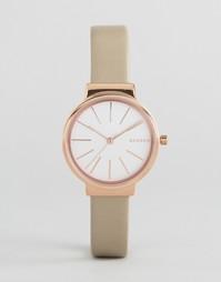 Часы с кремовым кожаным ремешком Skagen Hald SKW2481 - Кремовый