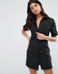 Платье-рубашка в стиле милитари Madam Rage - Черный