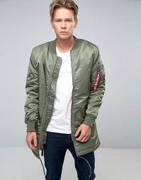 Зеленое пальто классического кроя Alpha Industries MA-1 - Зеленый