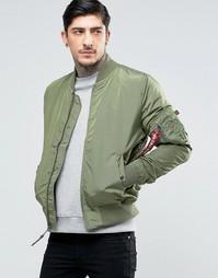 Зеленая куртка-пилот кроя слим Alpha Industries MA-1 - Зеленый