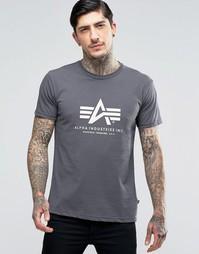 Серая футболка классического кроя Alpha Industries - Серый