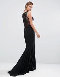Платье с кружевной спинкой и юбкой-годе Jarlo - Черный