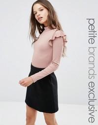 Боди с рюшами на плечах Fashion Union Petite - Бежевый
