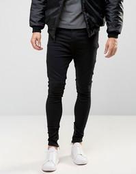 Джинсы с заниженным шаговым швом, отделкой на коленях в байкерском стиле и молниями Religion - Черный