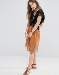 Пышная юбка с отделкой кроше Moon River - Коричневый
