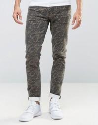 Камуфляжные джинсы скинни ASOS - Зеленый