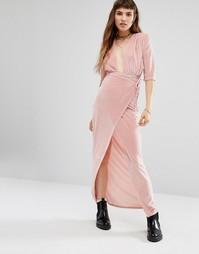 Платье макси с запахом спереди Rokoko - Розовый