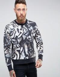 Черный свитшот классического кроя с тигровым принтом Paul Smith - Черный