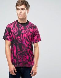 Розовая футболка классического кроя с тигровым принтом Paul Smith - Розовый