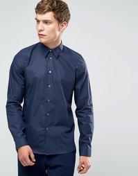 Синяя строгая рубашка слим с контрастными манжетами Paul Smith - Синий