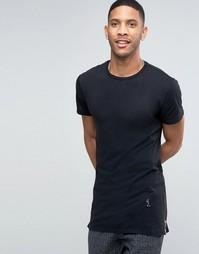 Длинная футболка с молниями по бокам Religion - Черный