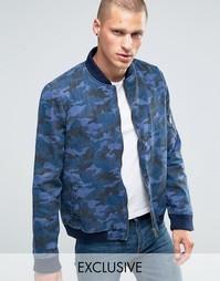 Джинсовая куртка-пилот с камуфляжным принтом Liquor & Poker - Темно-синий