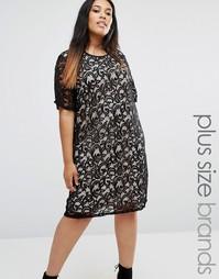 Цельнокройное кружевное платье Boohoo Plus - Черный