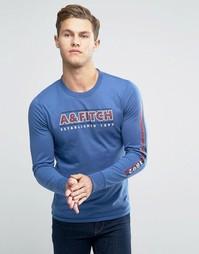 Синий лонгслив узкого кроя с логотипом Abercrombie & Fitch - Синий