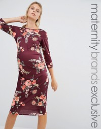 Облегающее платье для беременных с принтом и рукавами 3/4 Bluebelle Maternity - Мульти