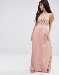 Короткое приталенное платье с завязкой на шее и вырезами Pixie & Diamond - Розовый