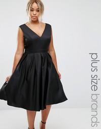 Платье для выпускного с глубоким вырезом спереди Chi Chi London Plus - Черный