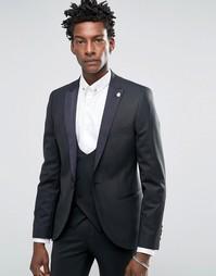 Супероблегающий эластичный пиджак-смокинг с контрастными атласными лацканами Noose & Monkey - Черный